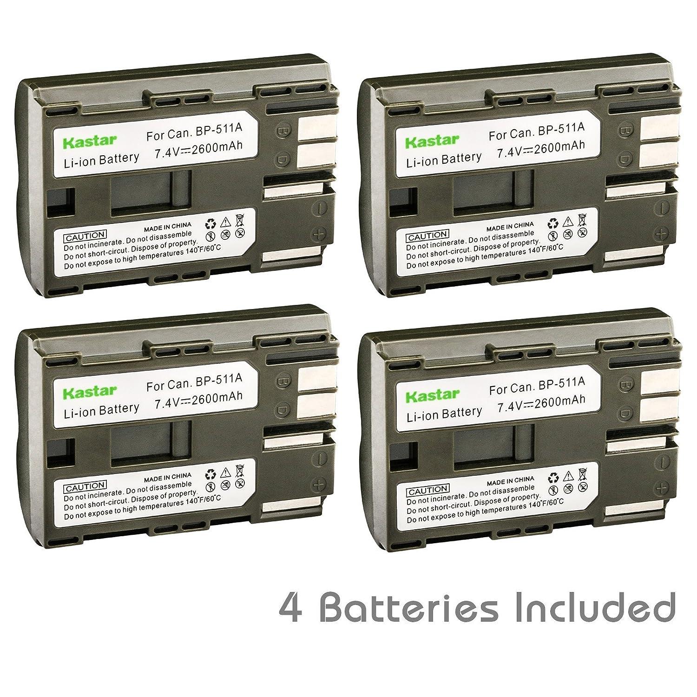 20D G1 40D D30 Pro 1 BP-511A 2-Pack BP511 Pro90 etc. and Charger for Canon BP-511 Kastar Battery 300D 10D G2 BP511A and EOS 5D 50D G3 30D Kiss Powershot G5 G6 Digital Rebel 1D D60