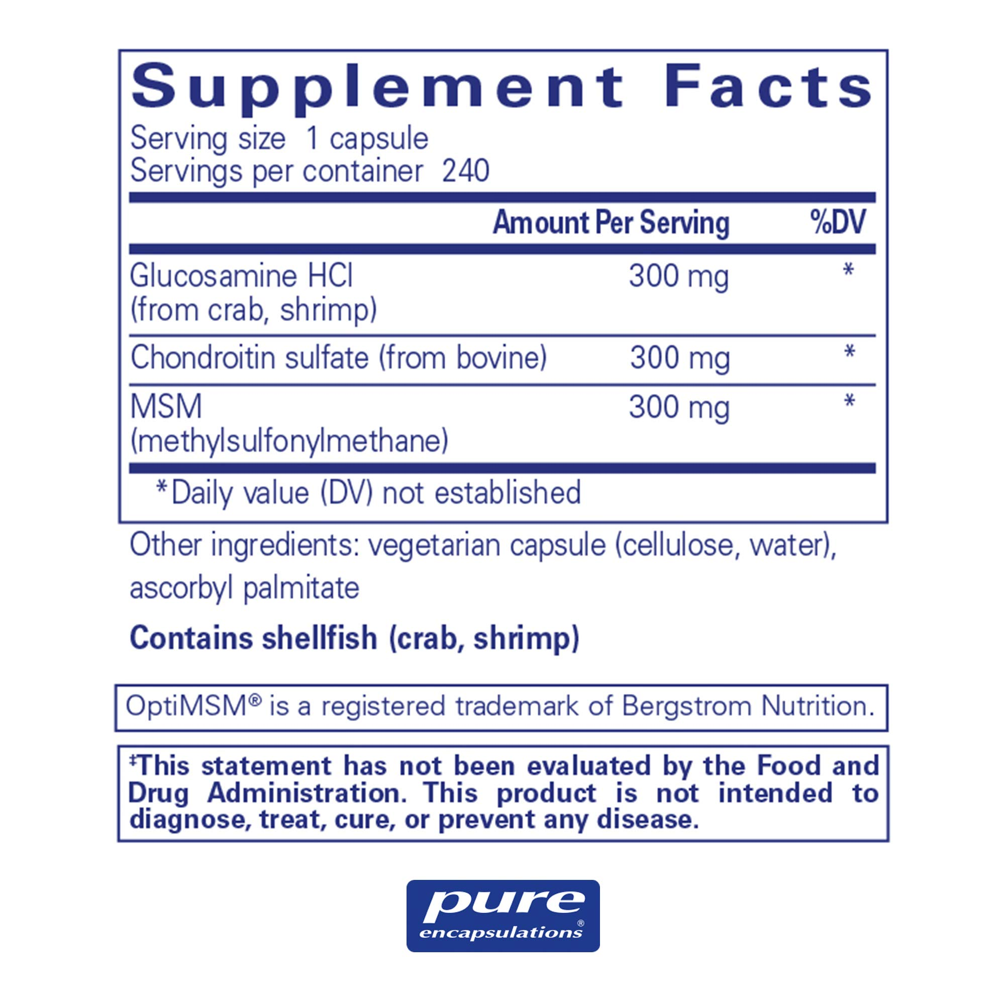 Pure Encapsulations - Glucosamine + Chondroitin with MSM - Healthy Cartilage Strength and Resilience* - 240 Capsules by Pure Encapsulations (Image #2)