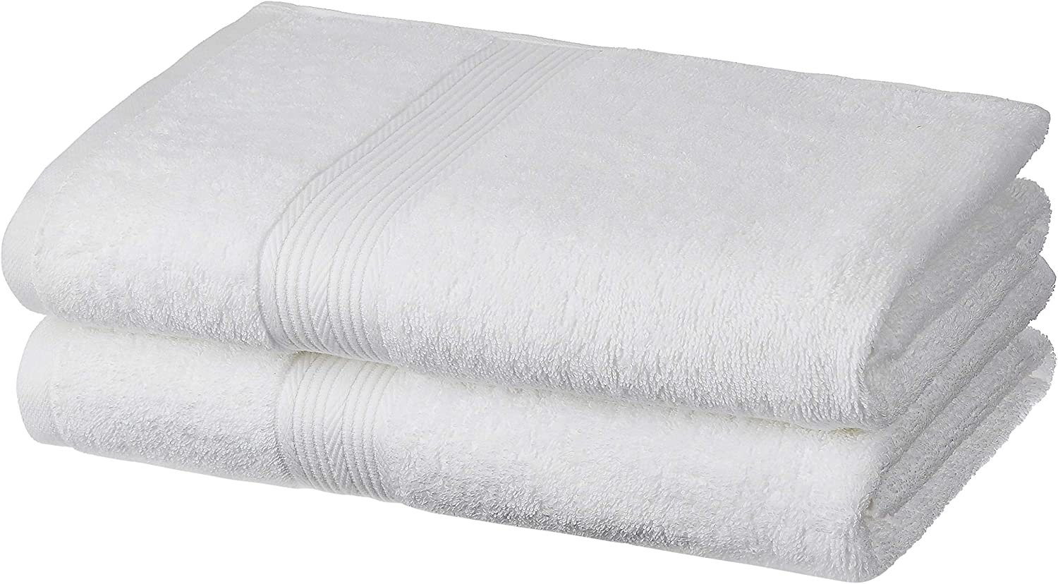 Amazon Brand - Solimo 100% Cotton 2 Piece Bath Towel Set, 500 GSM (White)