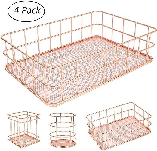 AKUKA Wire Storage Basket,Metal Fruit Basket,Pen Pot Holder,Mesh Pattern Makeup Brush Holder,Multi Purpose For Bathroom,Bedroom,Office,Kitchen,Food Organizer,Pack 4 Rose Gold
