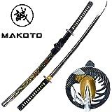 "Makoto Hand Forged Razor Sharp 41"" Black Samurai Katana Sword - Hand Painted Golden Phoenix on Scabbard"