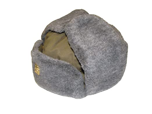 03b16c66e6c Genuine CZECH Army Issue Winter Grey Fur Olive Trapper Ushanka Hat With  Badge Unissued (53