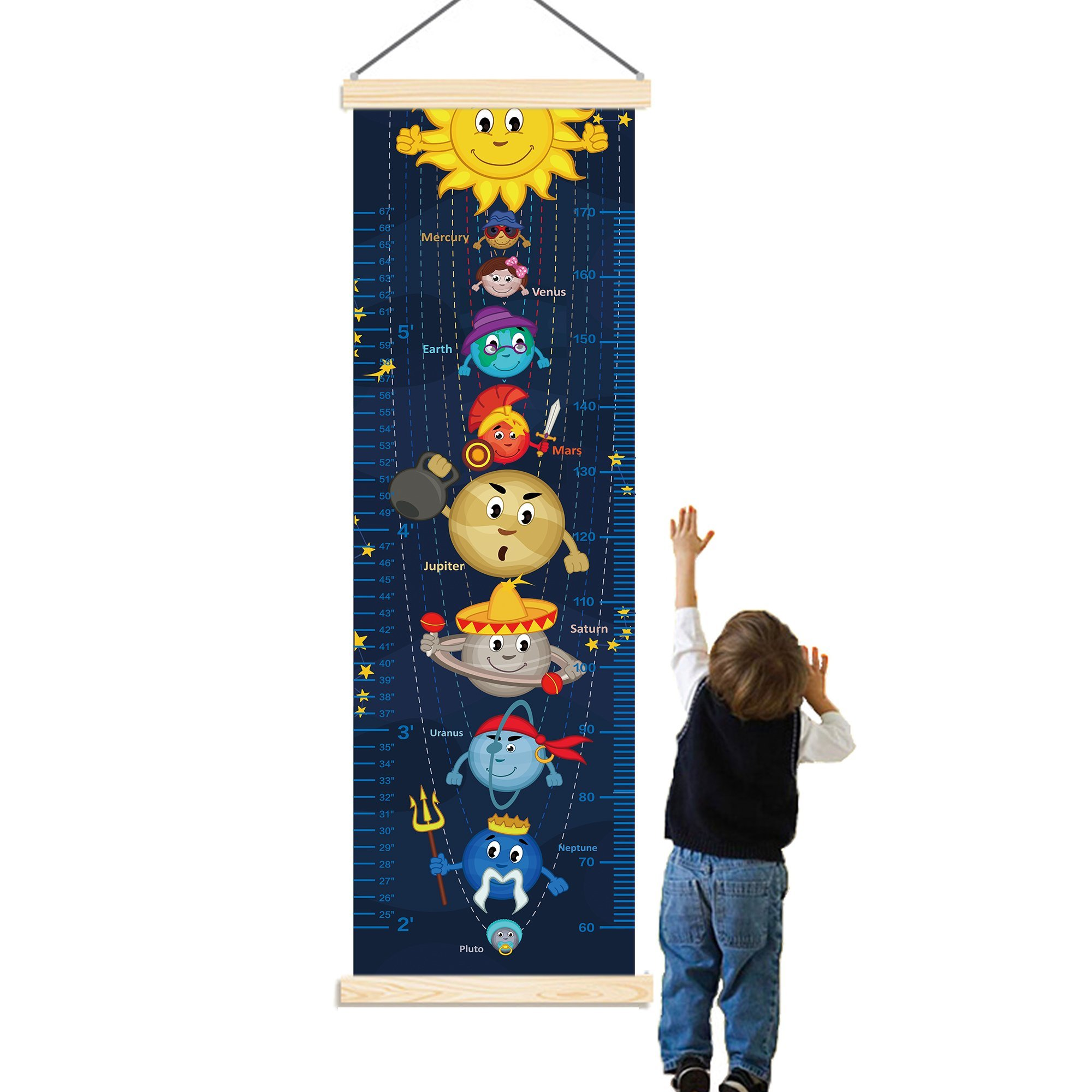 Panda_mall Solar System Baby Height Growth Chart Ruler Kids Roll-up Canvas Height Chart Removable Wall Hanging Measurement Chart Wall Decoration with Wood Frame for Boys Girls Kids Room