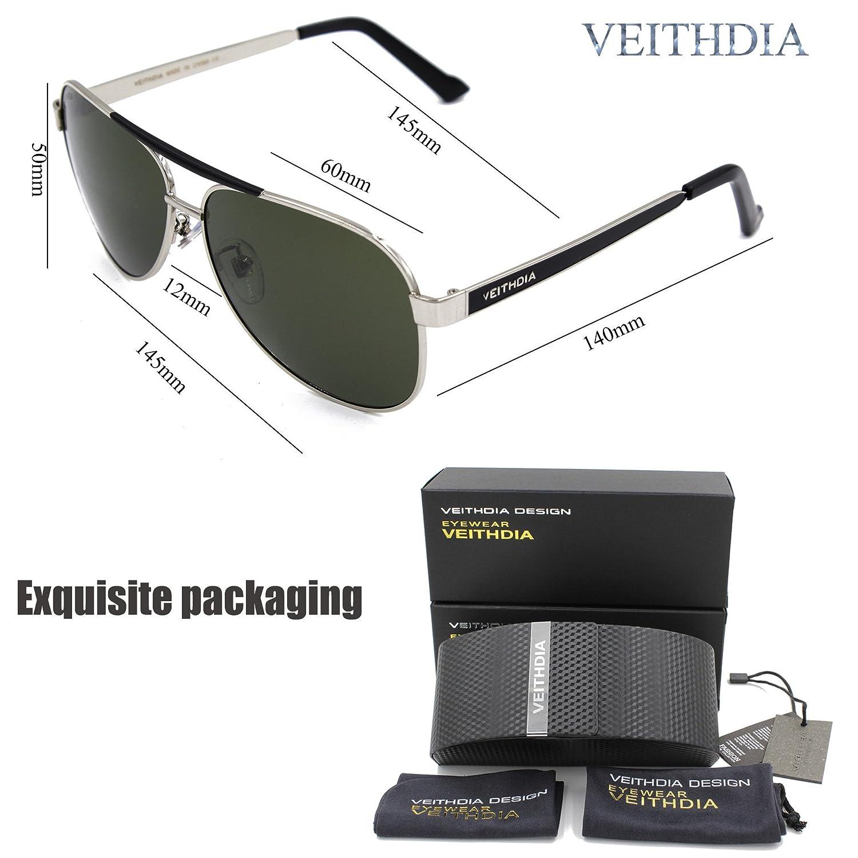 Veithdia 3152 Gafas de sol clásicas de aviador, lentes polarizas de alto grado, 100% protección UV: Amazon.es: Zapatos y complementos