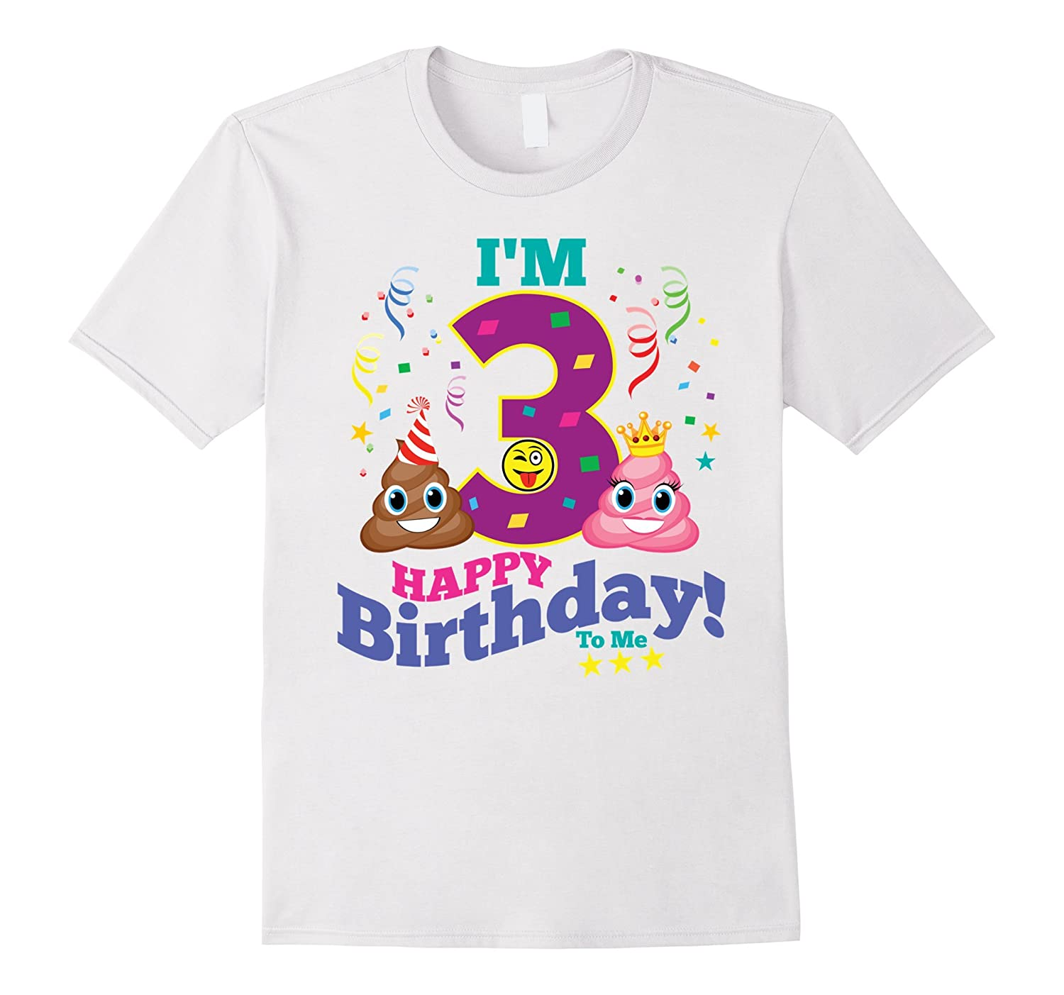 Poop Emoji Happy 3rd Birthday Shirt