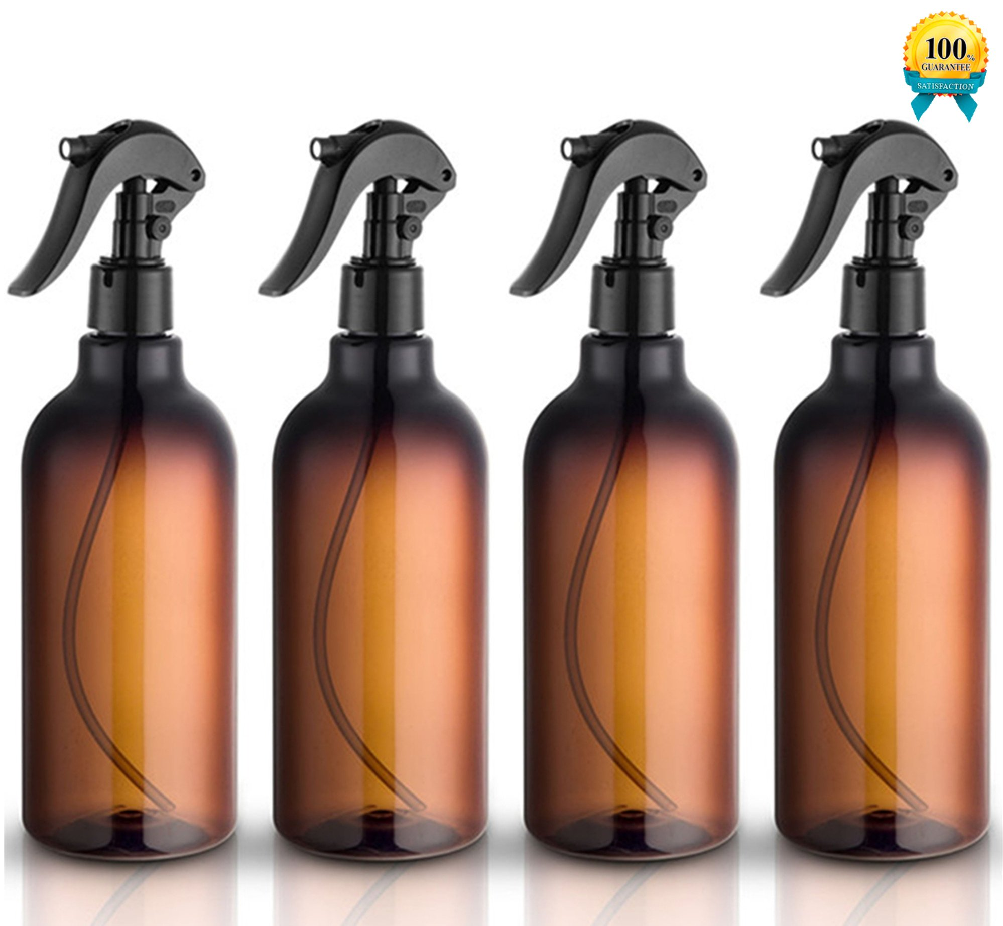 Spray Bottles, 16oz Plastic Spray Bottles with Black Fine Mist Sprayers Refillable Container for Essential Oils, Cleaning, Kitchen, Garden, Hair by Household Sprayer(4 pack) by household sprayer