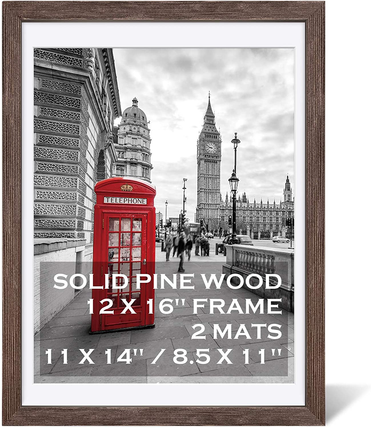 12x16 Rustic Picture Frames Solid Wood Display Pictures 11x14 or 8.5x11 Diplomas with Mat or 12x16 without Mat, Farmhouse Distressed Wooden Picture Frame for Wall or Table Top Display, Walnut -