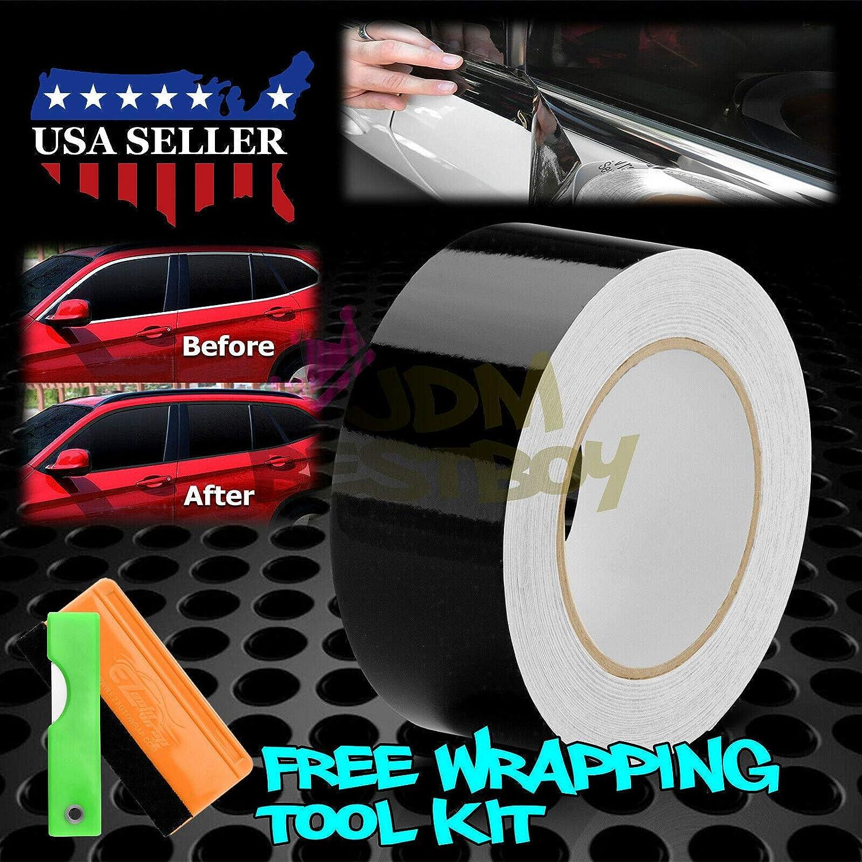 JDMBESTBOY Free Tool Kit 3D Carbon Fiber Black Vinyl Wrap Kit for Black Out Chrome Delete Window Trim Door Trim 2 x25Ft