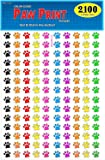 Pack of 2100 Colorful Dog Paw Print Stickers, 3/4 inch, 8 Bright Neon Colors, Great for Teachers, Classrooms & Veterinarians!