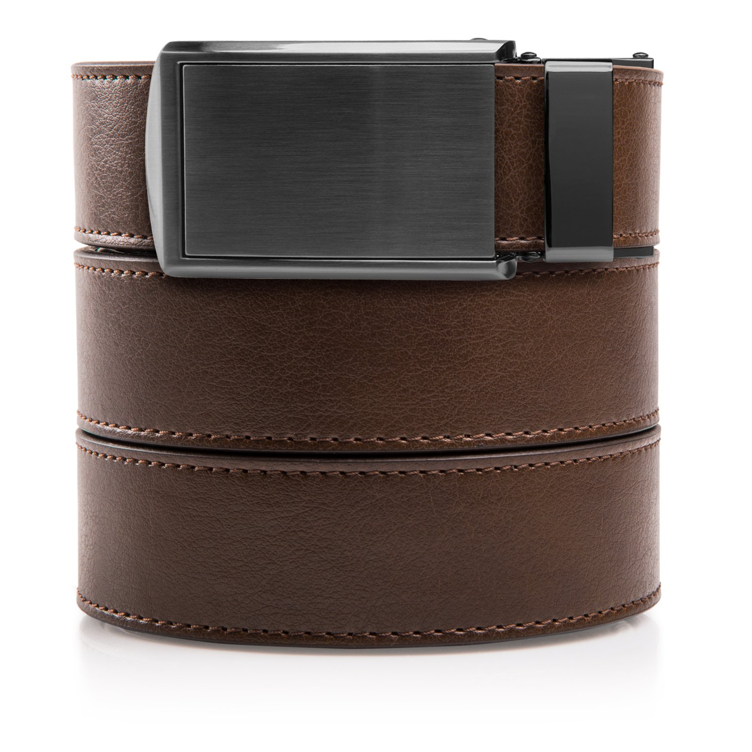 SlideBelts Men's Vegan Leather Belt without Holes - Gunmetal Buckle/Mocha Brown Leather (Trim-to-fit: Up to 48'' Waist)