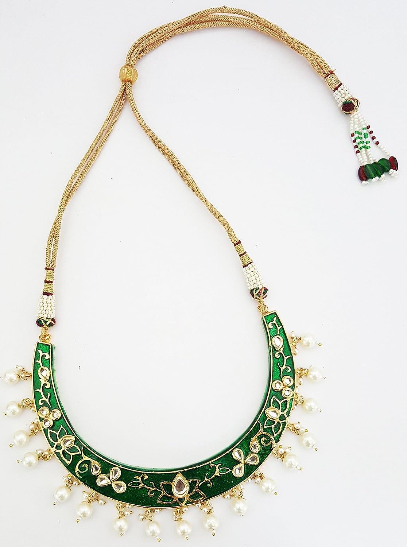 c60a266691906 Buy Mehrunnisa Traditional Meena Kundan & Pearls Hasli Necklace Set ...