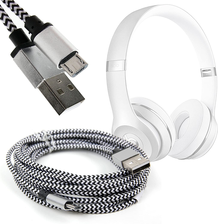 Suitable for Muzili Bluetooth Speaker DURAGADGET Silver Nylon Braided 3M Micro USB Data Sync Lead