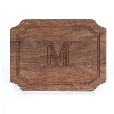 BigWood Boards W300-M Cutting Board, Monogrammed Wedding Gift Cutting Board, Small Cheese Board, Walnut Wood Serving Tray,  M