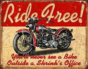 "Desperate Enterprises Ride Free Tin Sign, 16"" W x 12.5"" H"