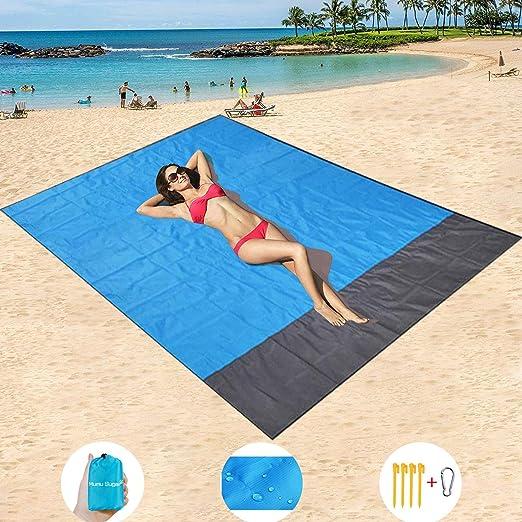 HISAYSY Alfombra de Playa, 210 x 200 cm XXL Manta de Picnic de Bolsillo Impermeable Extra Grande, a Prueba de Arena & Lavable con 4 Estacas