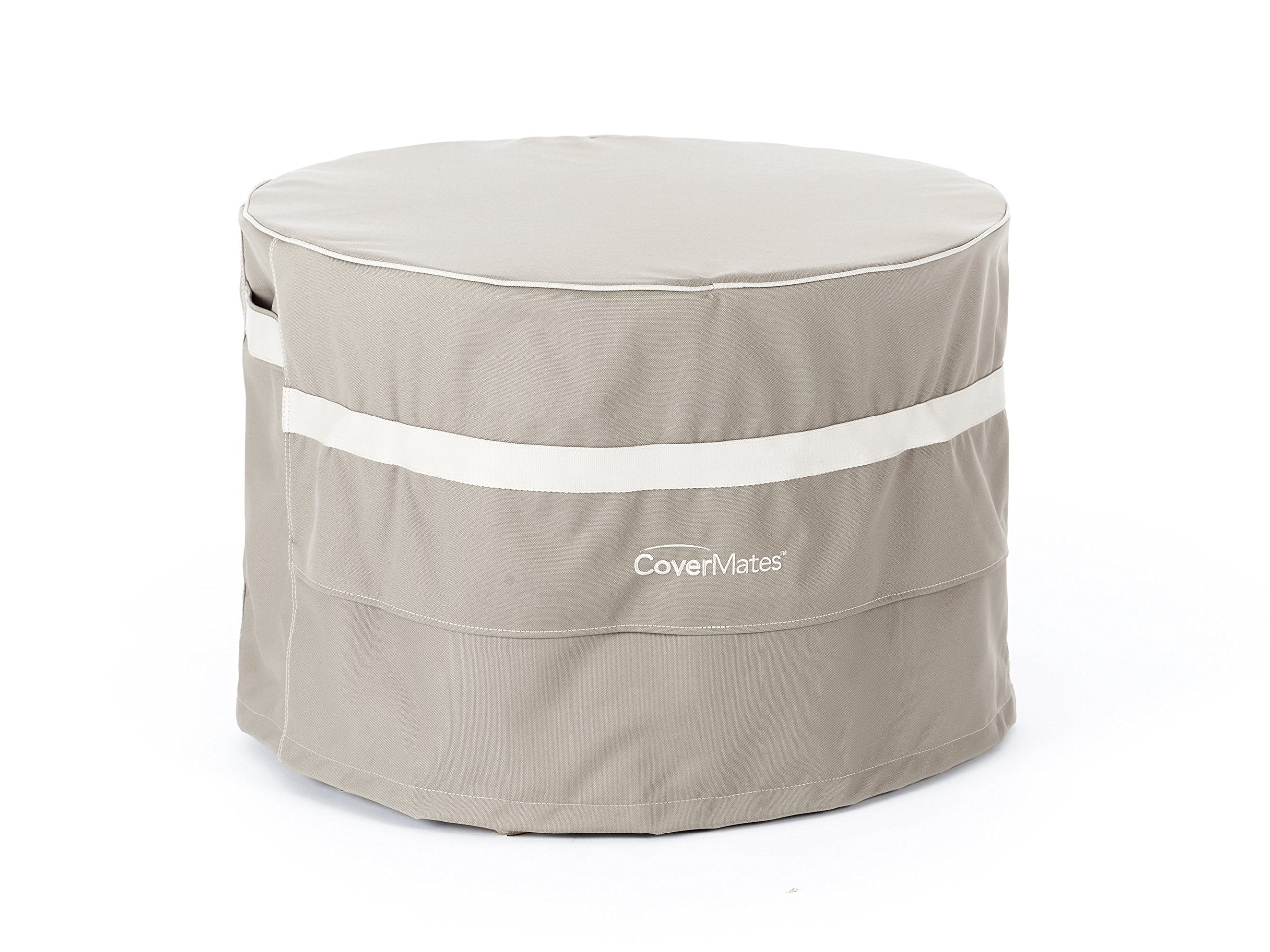 Covermates - Round Accent Table Cover - 24DIAMETER x 18H - Prestige - 900D Solution-Dyed Poly - Reinforced Handles - Front/Back Covered Mesh Vents - 7 YR Warranty - Weather Resistant - Clay by Covermates