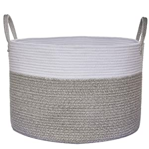 "COMEMORY Large Cotton Rope Basket, 20"" x 14"" Laundry Blanket Storage Basket with Built-in Sturdy Handles, Baby Nursery Hamper for Home Decor and Organizing"
