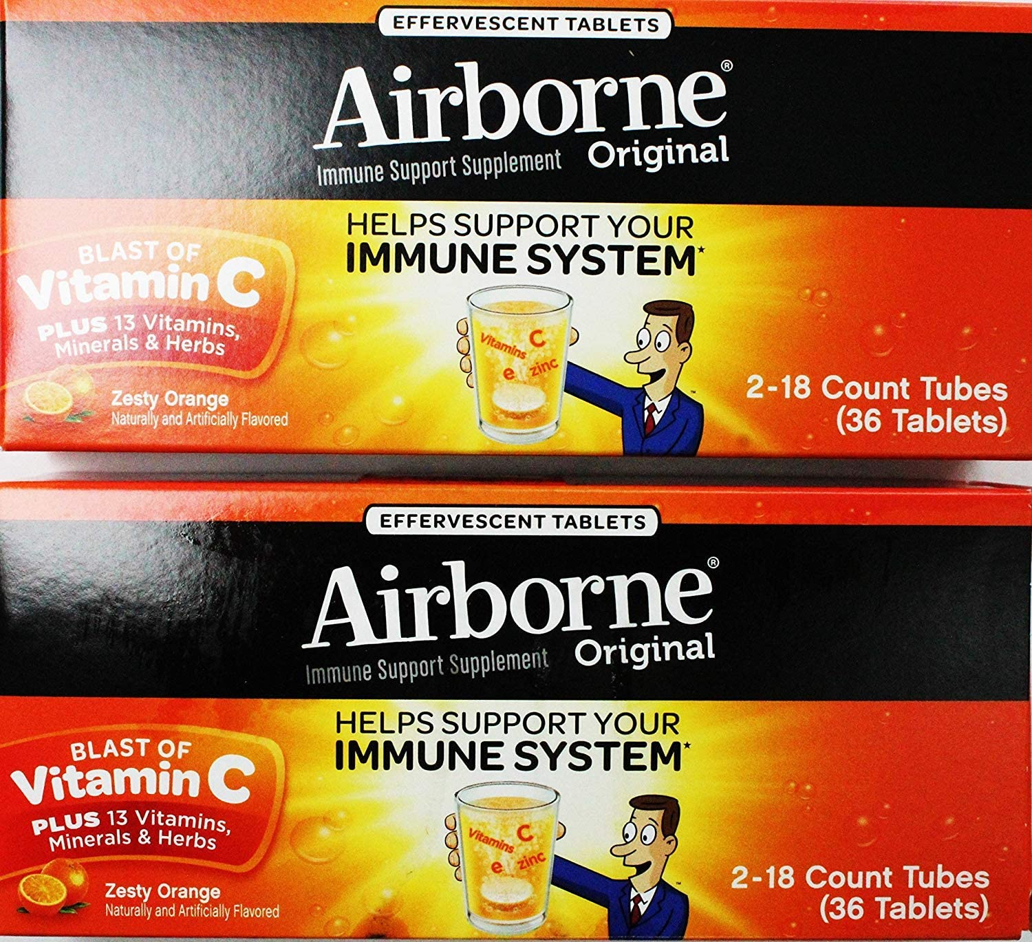 Airborne Effervescent Health Immune Boosting Formula Zesty Orange 36 Tablets Bonus Size 72 Count
