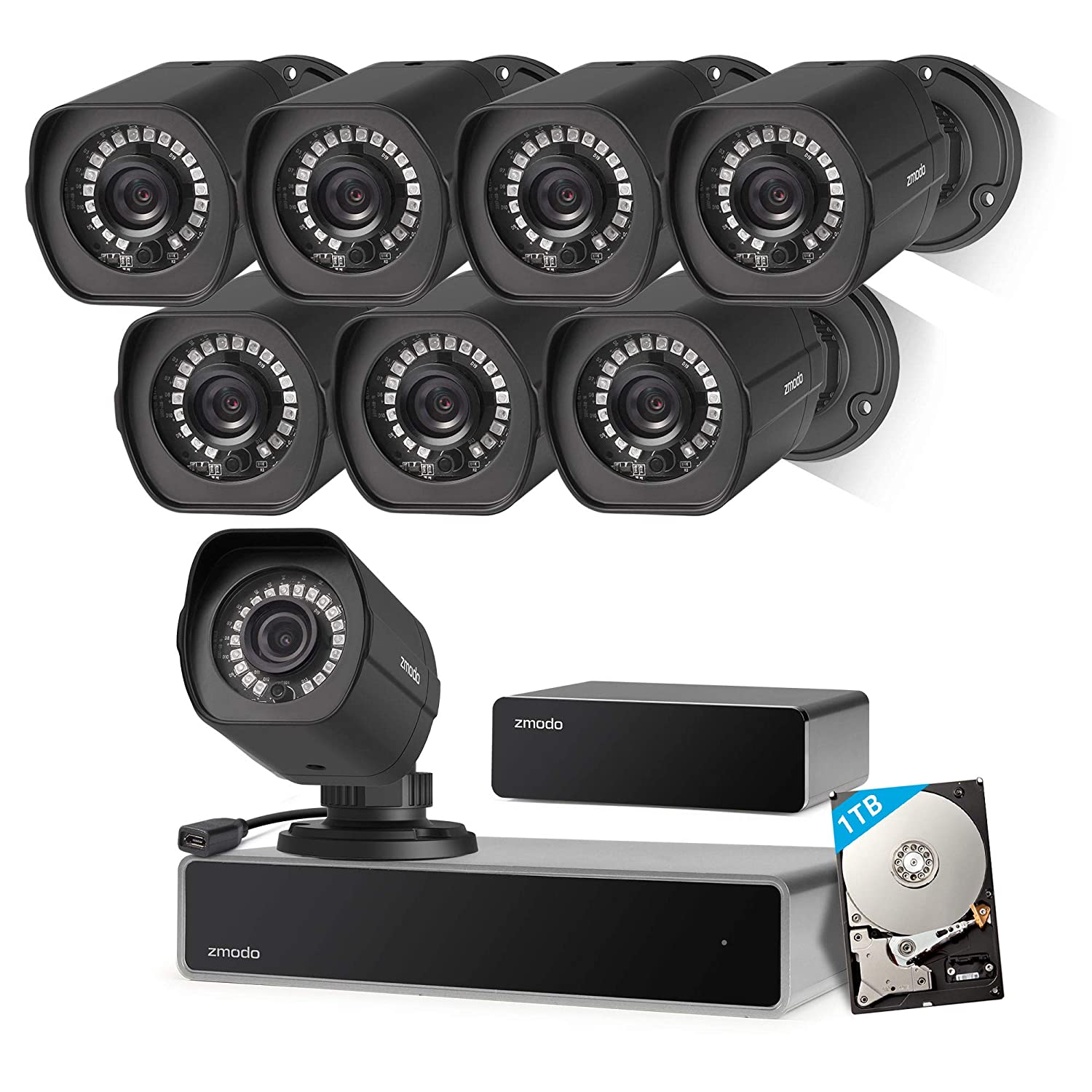 Zmodo Full HD 1080p Simplified PoE Security Camera System w/Repeater, 8 x 2.0 Megapixel IP Outdoor Surveillance Camera, 8CH HDMI NVR and 1TB Hard Drive