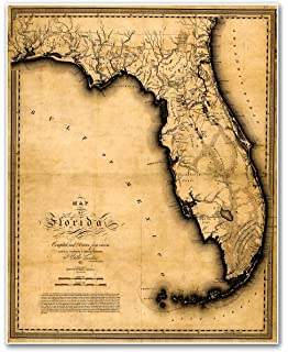 Amazoncom Waterproof Charts S Vintage Style Florida Map - Map of the florida