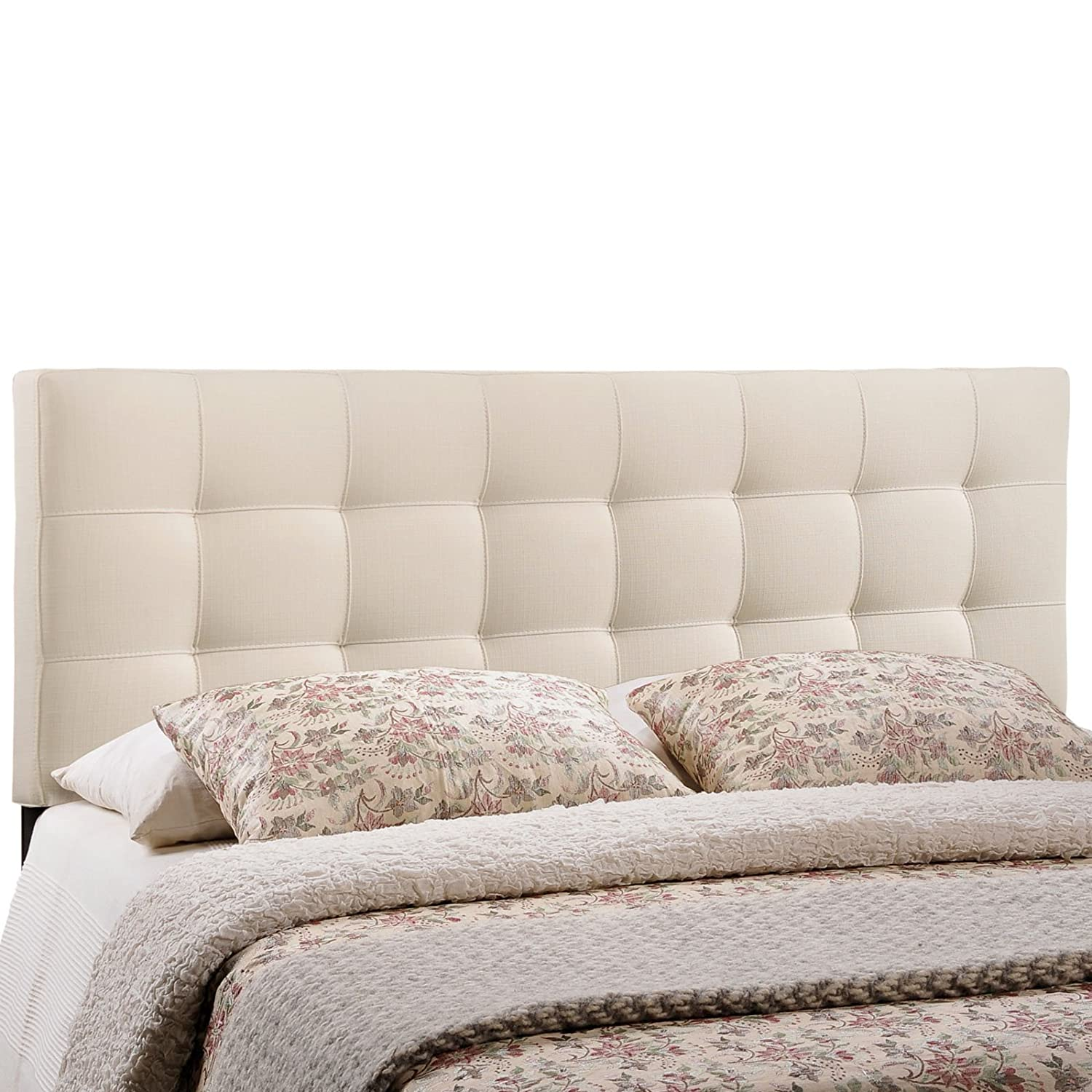 Amazon.com - Modway Lily Upholstered Tufted Fabric Headboard Queen Size In  Ivory - - Amazon.com - Modway Lily Upholstered Tufted Fabric Headboard Queen