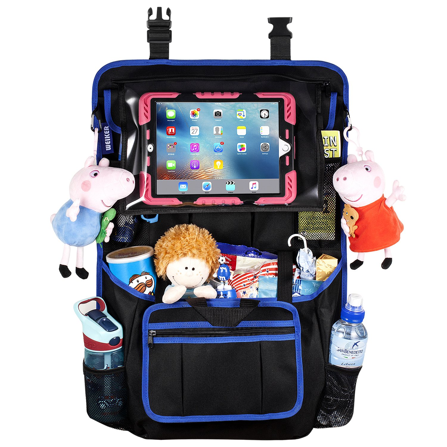 Car Back Seat Organizer Protector - Travel Accessories Large Size Toy Storage Bag with 12.9' Tablet Holder for Kids, Backseat Cover, Kick Mats by WEIKER (BLACK - 2 PACKS) JXN-WA-02