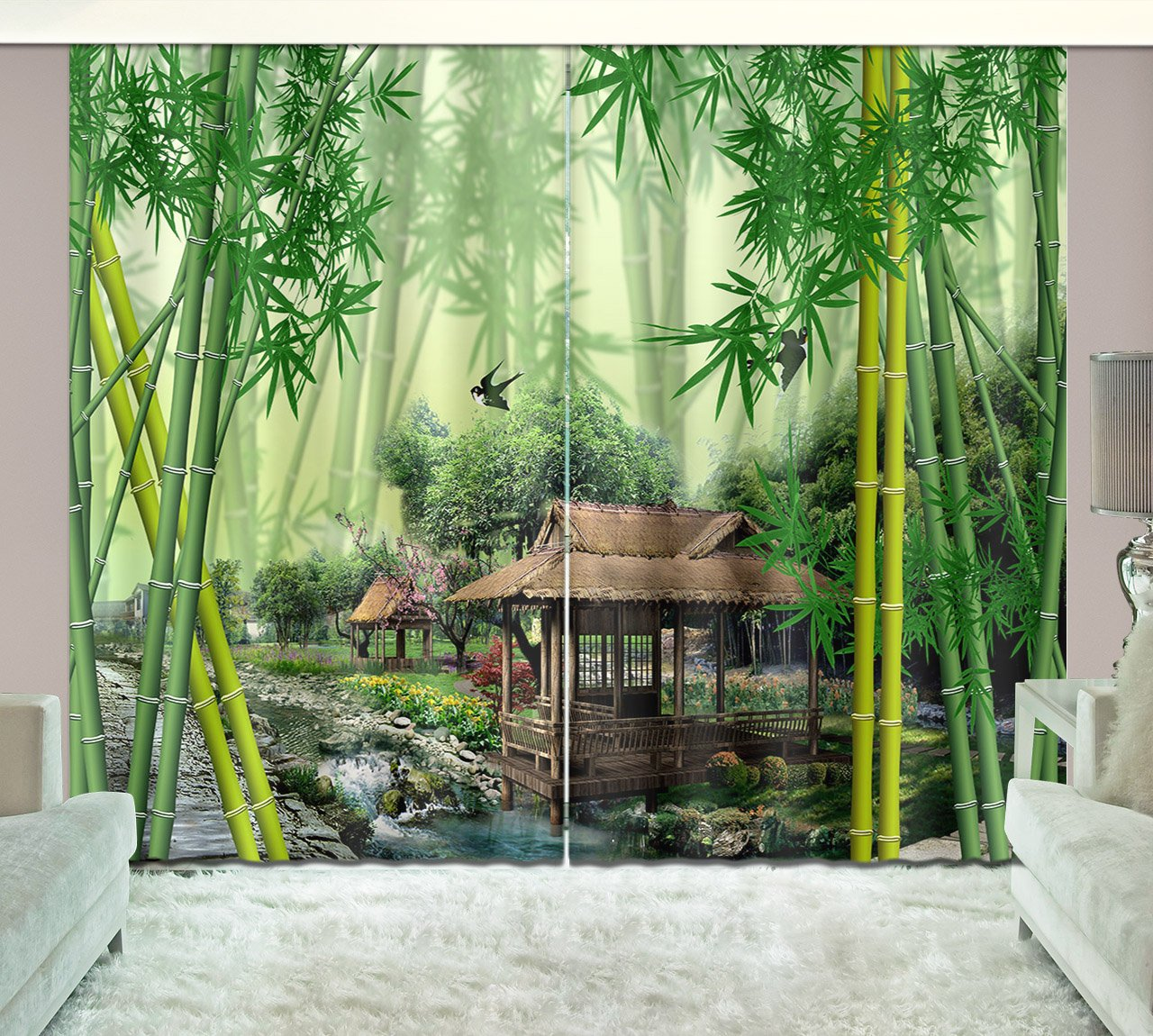 Bamboo Forest Decor Curtains By LB,Green Bamboo Tree and Pavilion 3D Window Treatment Spa Zen Curtain Living Room Bedroom Window Drapes 2 Panels Set,104W x 63L Inches by LB (Image #3)