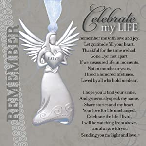 Memorial/Remembrance Angel Ornament with Celebrate My Life Poem- Heartfelt Sympathy Gift for Loss of Loved One
