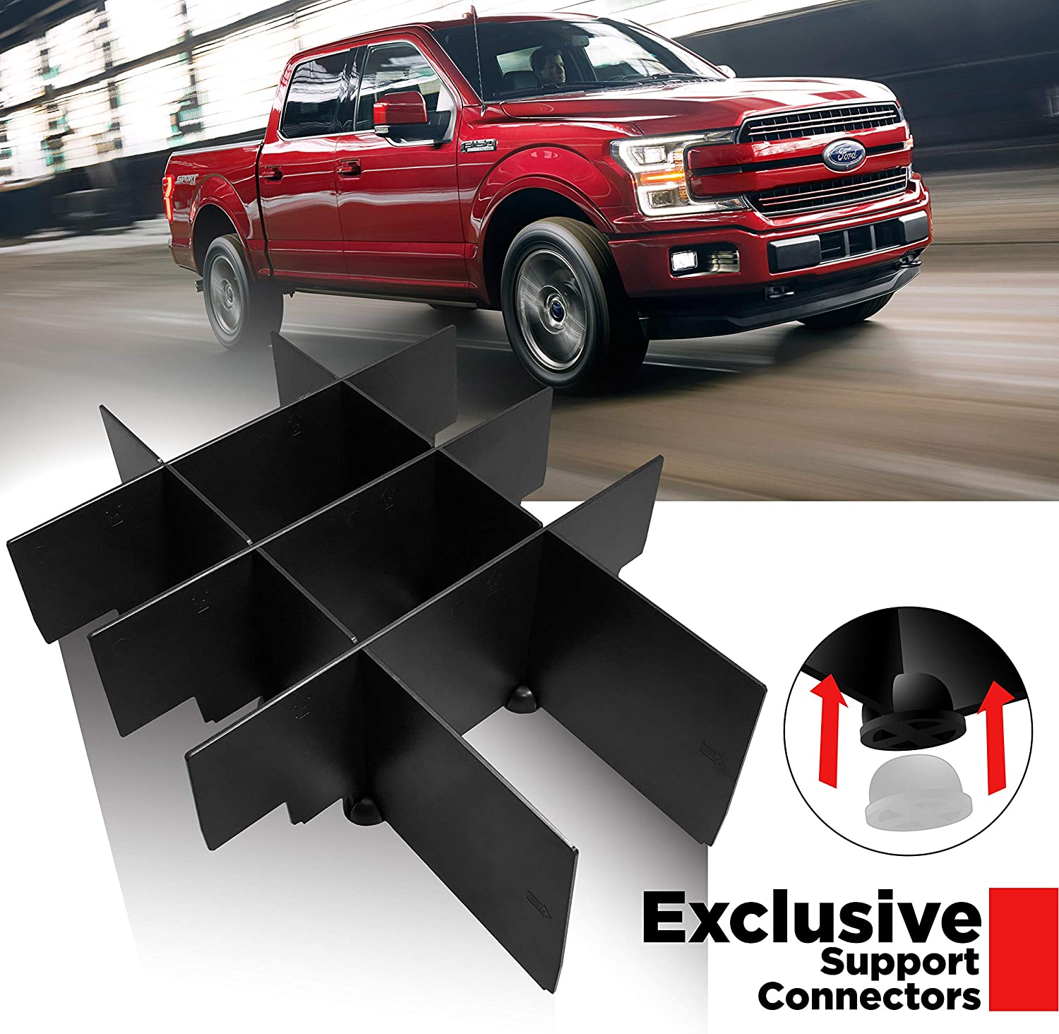 Fits only Vehicle w Bucket Seats Organizer 2015-2020 F150 Seven Sparta Center Console Tray Replacement for 2017-2020 F150 Raptor F250 F350 F450 F550 2018-2020 Expedition