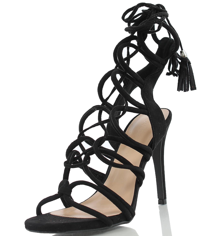 5f6c6f64f18 Wild Diva Women s Berlin 72 Gladiator Strappy Lace Up Tie High Heel high -quality