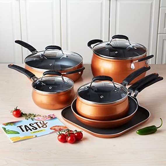 Amazon Com Tasty 11pc Cookware Set Non Stick Diamond Reinforced Pfoa Free Copper Kitchen Dining