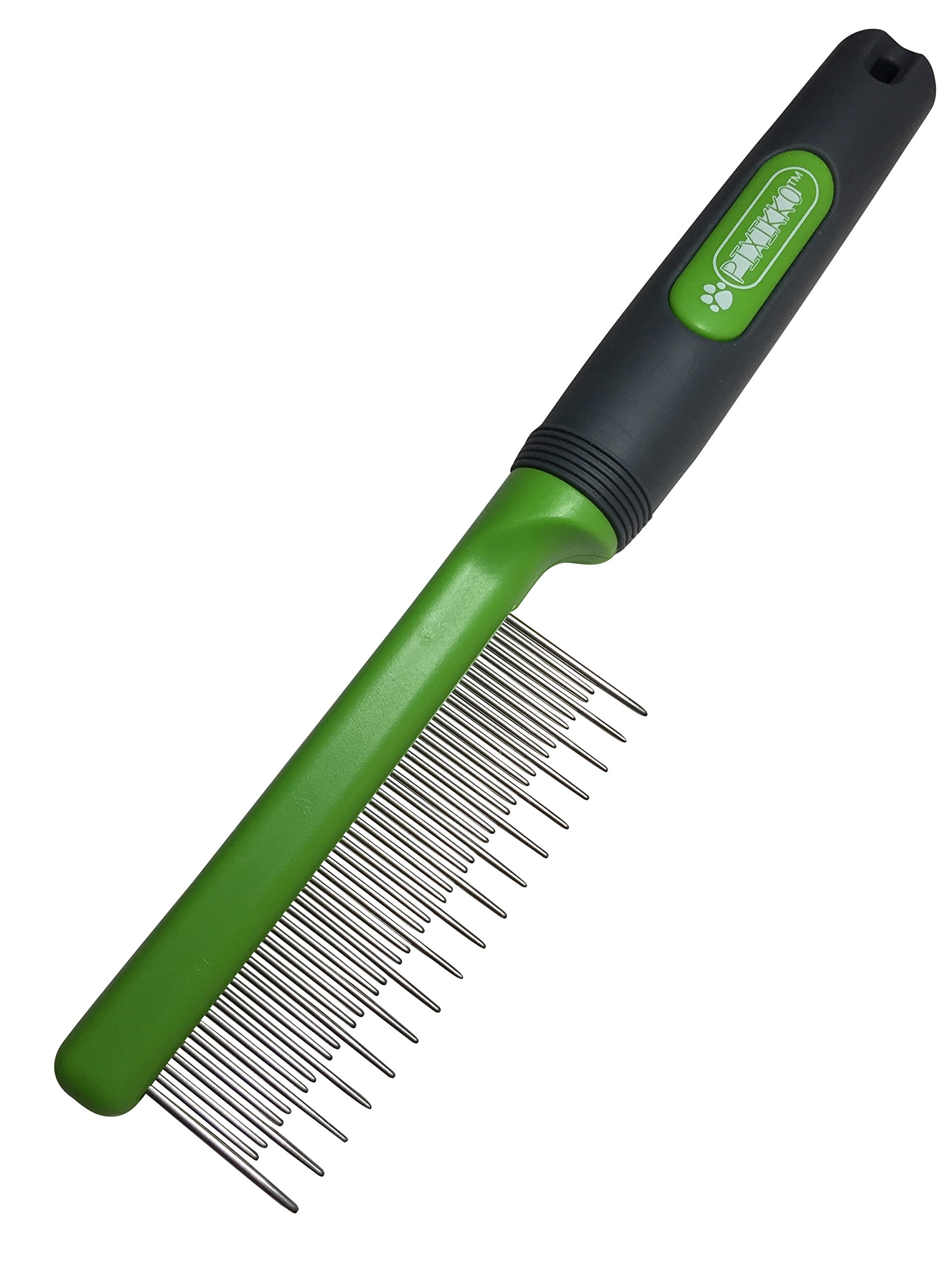 Pixikko Stainless Steel Cat Shedding Comb with Non-slip Grip Handle