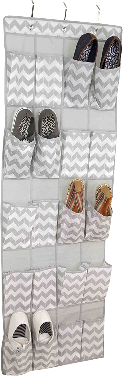 Home Basics Chevron Collection Storage and Organization (20 Pocket Over the Door Shoe Holder)