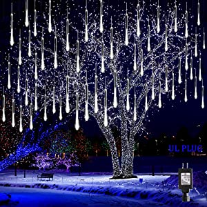 Kwaiffeo Christmas Lights Outdoor, Meteor Shower Lights Falling Rain Lights 12 inch 8 Tube 192 LED Snow Falling Icicle Cascading Lights for Xmas Tree Halloween Decoration Wedding Party, UL Plug, White