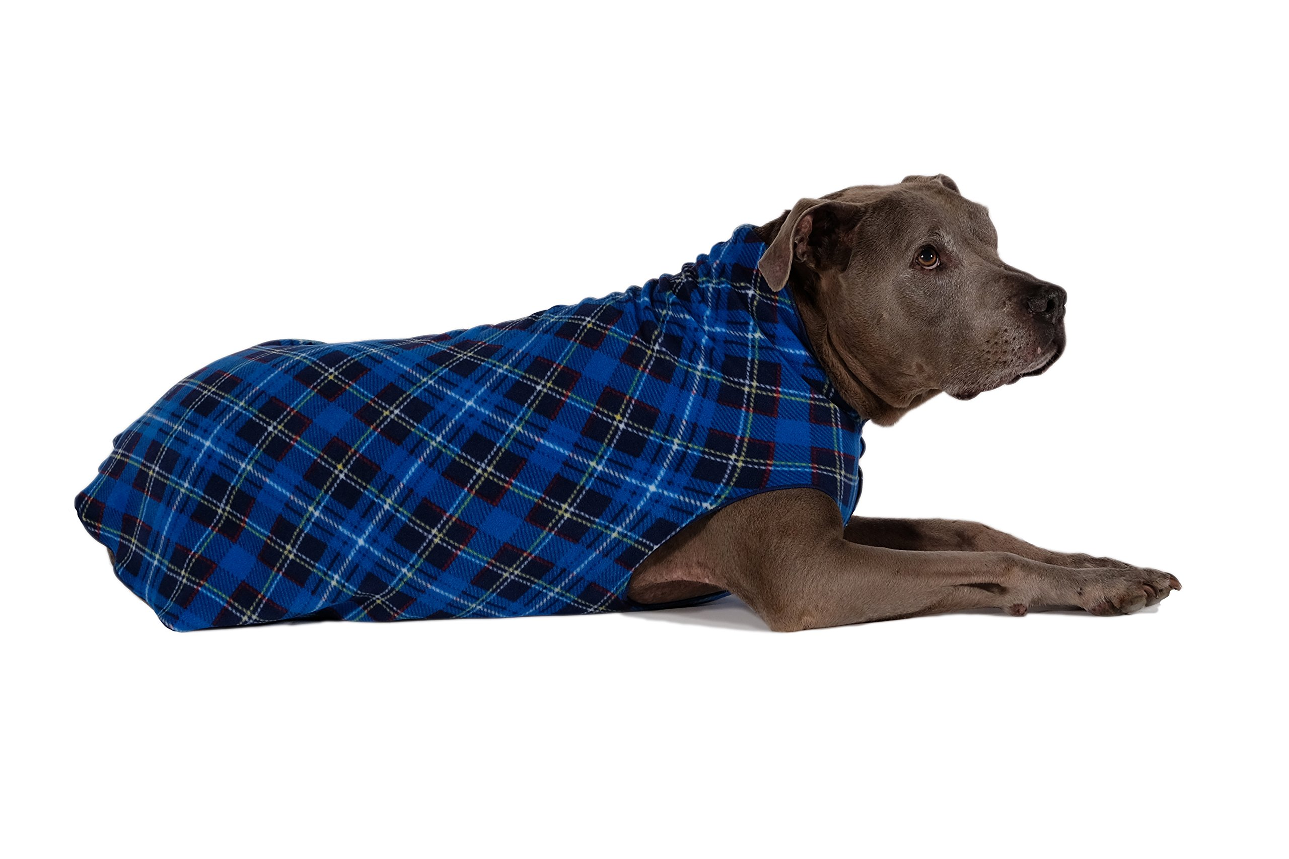 Gold Paw Stretch Fleece Dog Coat - Soft, Warm Dog Clothes, Stretchy Pet Sweater - Machine Washable, Eco Friendly - All Season - Sizes 2-33, Blue Plaid, Size 14 by Gold Paw