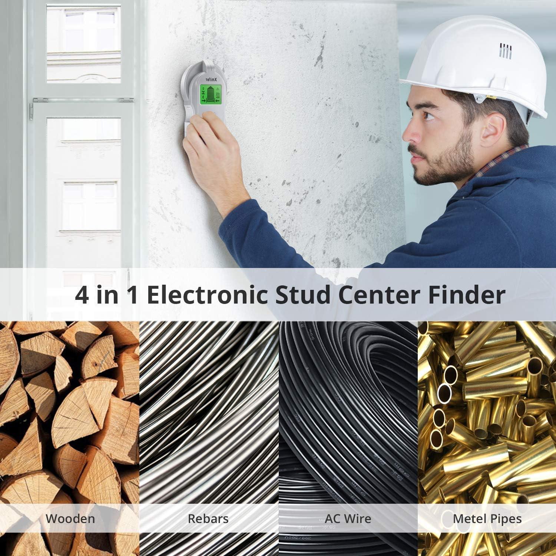 sensor central con pantalla LCD para detecci/ón de clavos de metal y centro y borde de madera AC detector de muros detector de pernos 4 en 1 multifunci/ón Esc/áner de pared con sensor de pernos