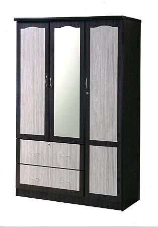 Amazon Hodedah Import 3 Door Wardrobe with 2 Drawers & Mirror