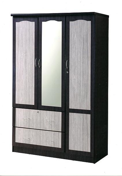 HODEDAH IMPORT 3 Door Wardrobe 2 Drawers U0026 Mirror, Chocolate Grey