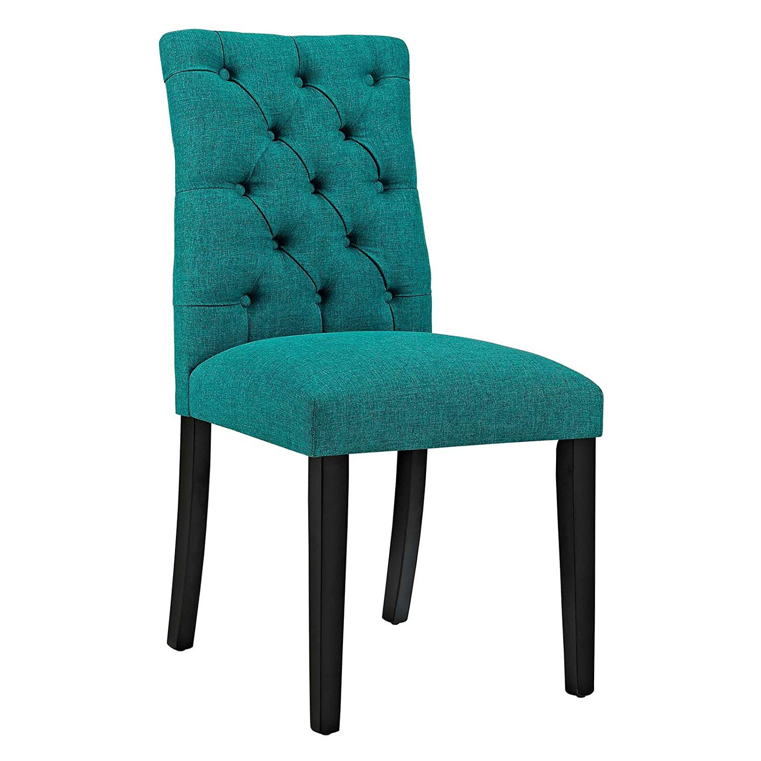 Sophisticated upholstered dining chair with tufted back dense foam padding solid rubberwood legs non marking foot caps made of wood and polyester