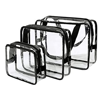 ebaf9b9c2c Eono Essentials Toiletry Bags 3 in 1 Gift Makeup Bags   Cases Plastic Bag  Clear PVC Travel Bag Brushes Organizer for Men and Women Travel Business ...