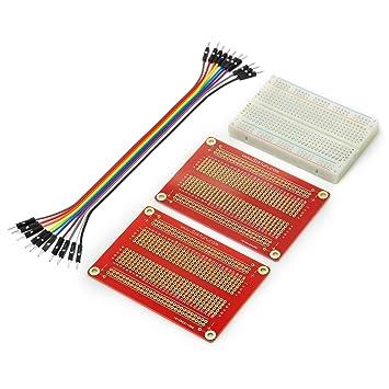 Gikfun - Mini placa de paneles sin soldadura (400 puntas, 2 cables de soldadura