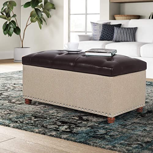 Editors' Choice: Furnistar 35.4 Rectangular Tufted Faux-Leather/Fabric Storage Ottoman Bench