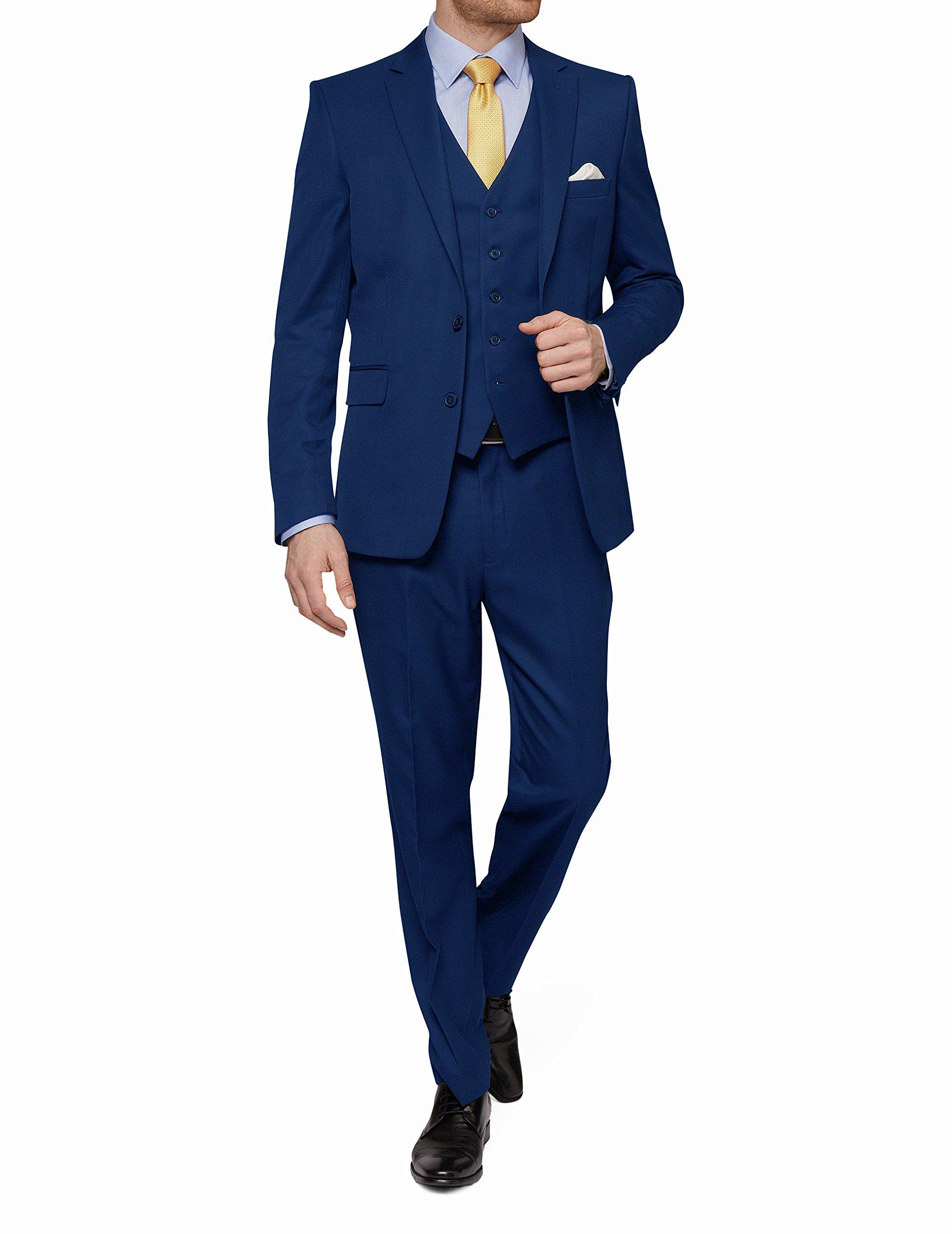 MDRN Uomo Mens Slim Fit 3 Piece Suit, Blue, Size 42Rx36W