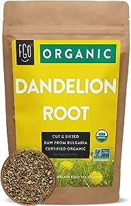 Organic Dandelion Root | Loose Tea (200+ Cups) | 16oz/453g Resealable Kraft Bag | 100% Raw From Bulgaria | by FGO