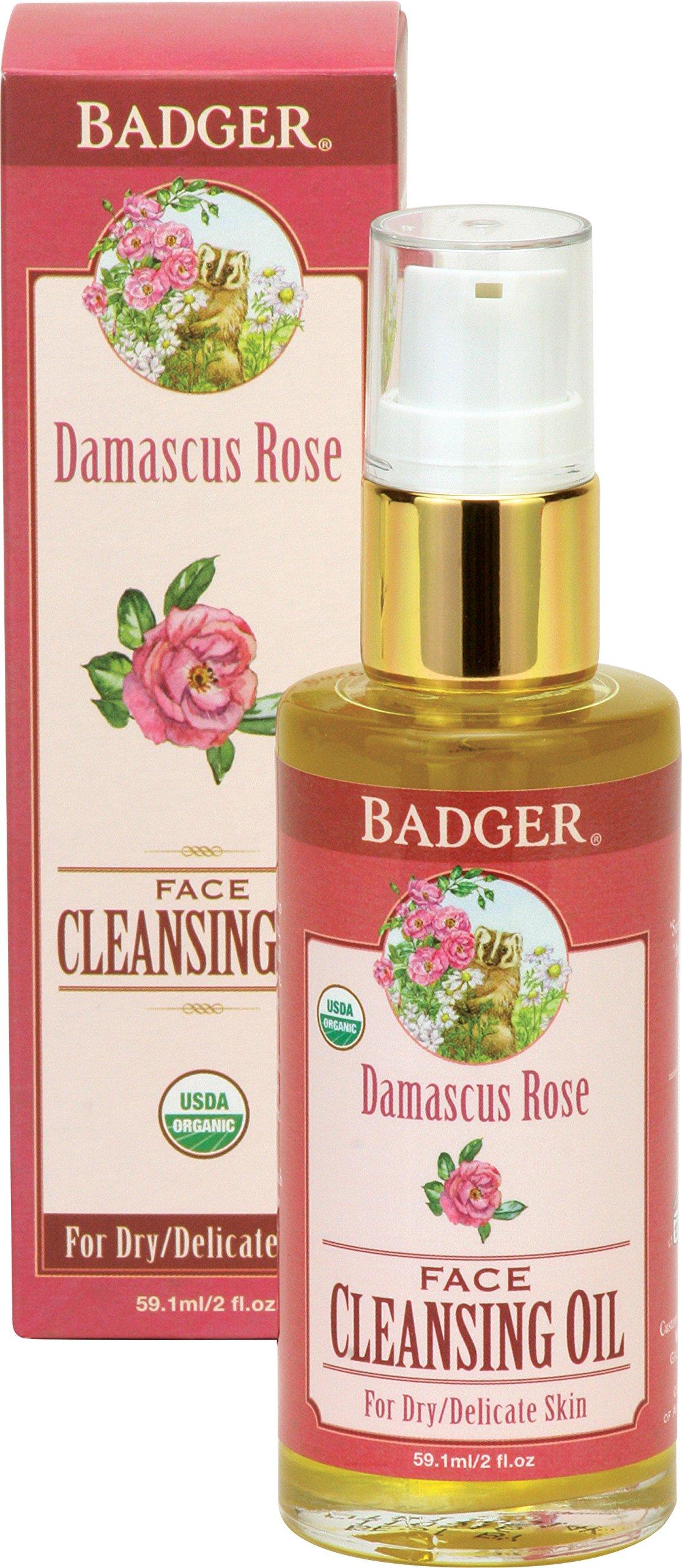 Badger Damascus Rose Face Cleansing Oil - 2 fl oz Glass Bottle