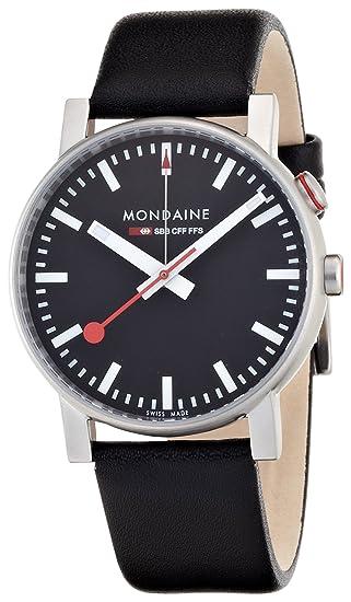 Mondaine SBB Evo Alarm 40mm A4683035214SBB Reloj de pulsera Cuarzo Hombre correa de Cuero Negro: Amazon.es: Relojes
