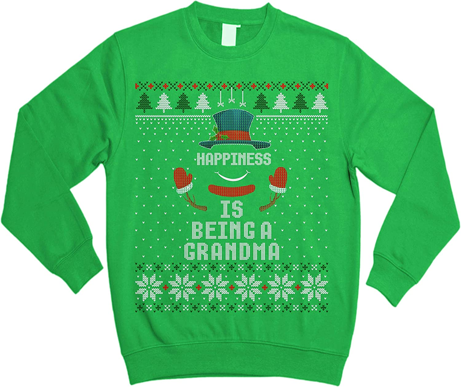 Happiness is Being A Grandma Snowman Christmas Ugly Sweater Sweatshirt