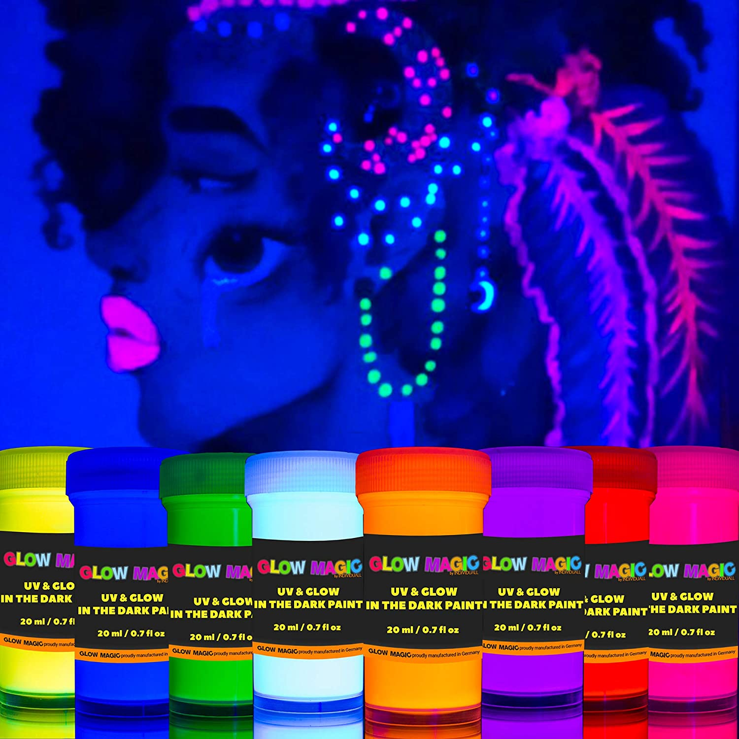 Glow Magic Glow in The Dark Paint 2-in-1 – Neon Glow Paint Set with UV Black Light Reflective Wall Paint – High Pigmentation – Perfect for Arts & Crafts, DIY, Kids Party Decoration, Set of 8