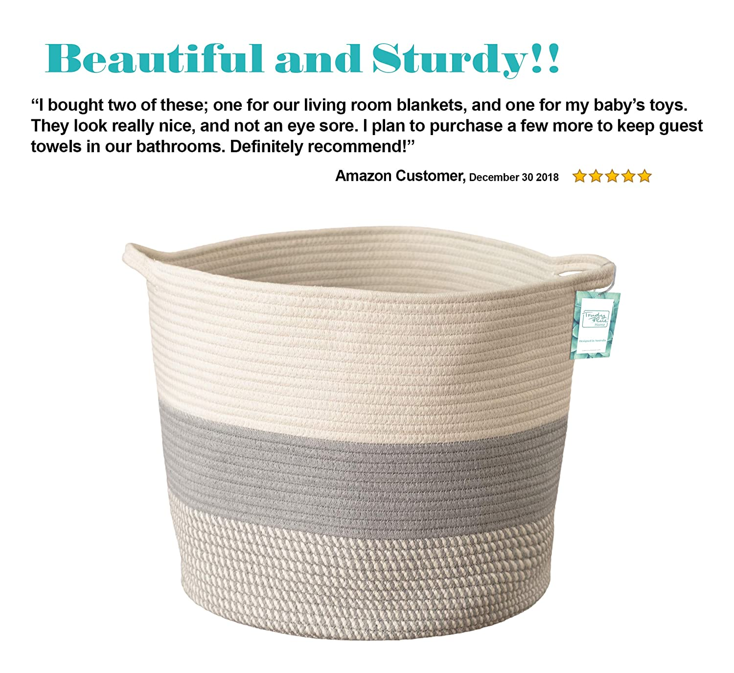 19604dae4821 Amazon.com : Extra Large Cotton Rope Woven Storage Basket XL Tall Grey  Décor Basket for Blanket, Baby Nursery Hamper Bin, Toy Tote - A Cute Round  Laundry, ...