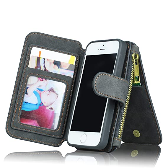 pretty nice 3a484 5b294 For iPhone 5/5s 5se Wallet Case, MEGSHI Premium Zipper Wallet Leather  Detachable Magnetic Case Purse Clutch Removable Case Card Slots Flip Credit  ...